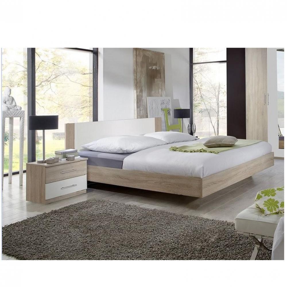 lit design eva couchage 140 x 190 cm chene clair rechampis blanc