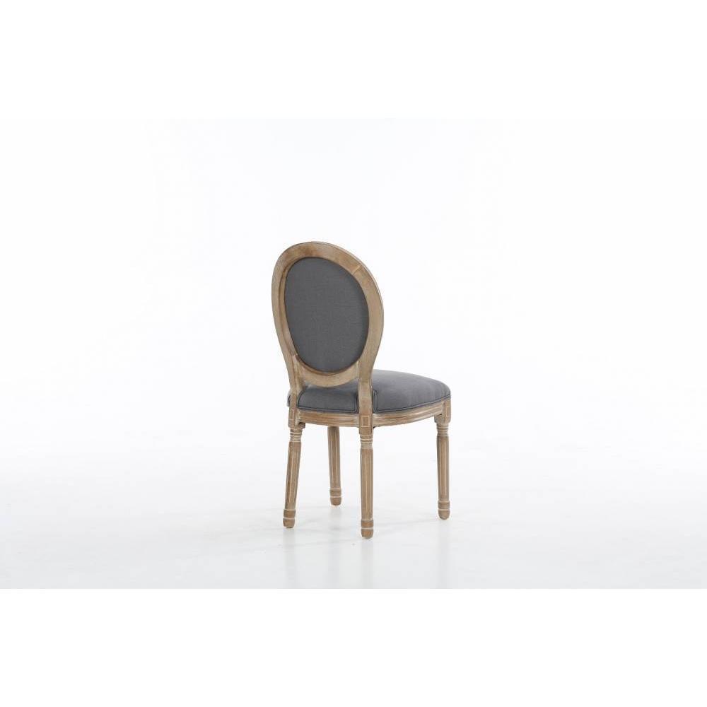 lot de 2 chaises medaillon versailles style louis xvi lin gris et chene clair vieilli