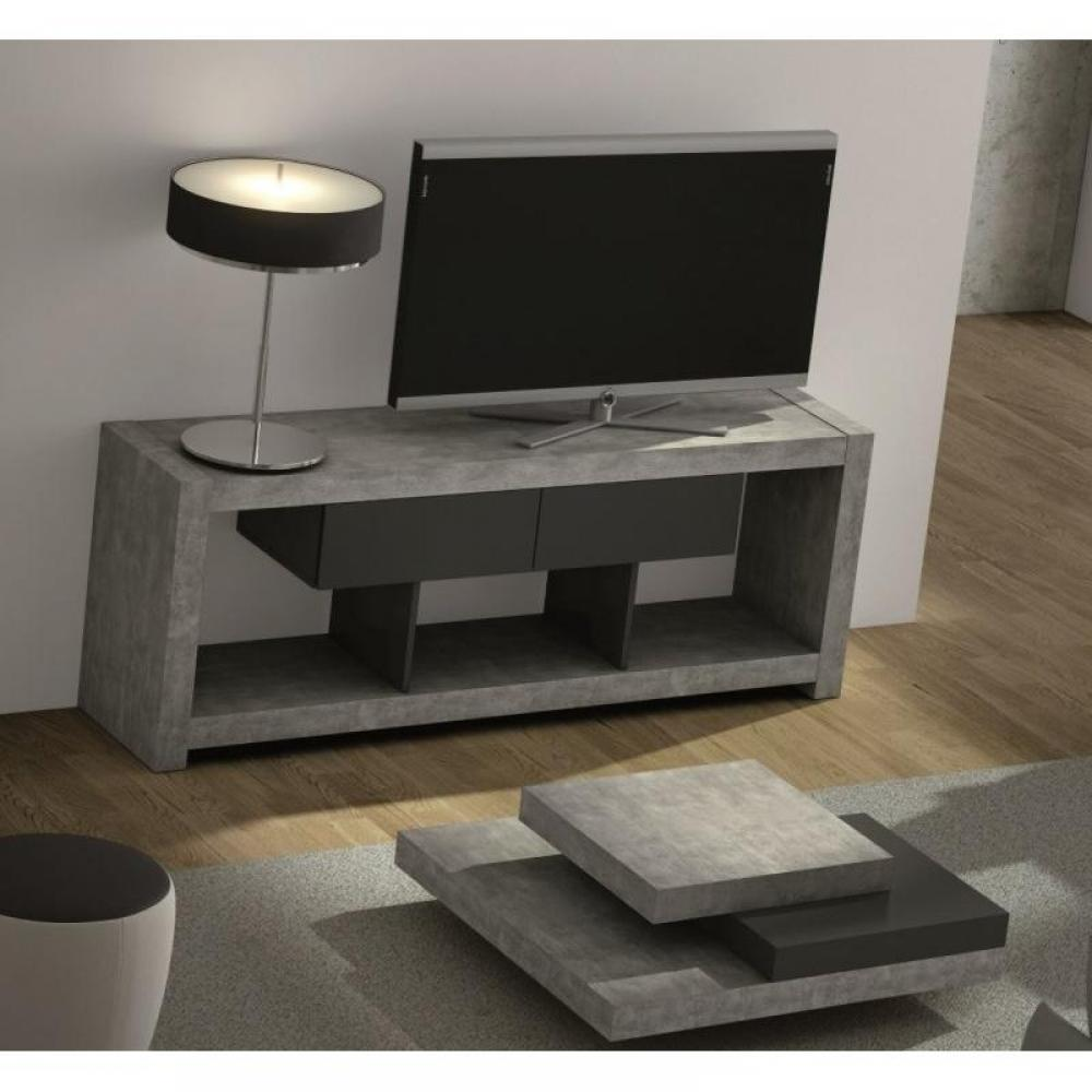 nara meuble tv design beton avec 2 tiroirs