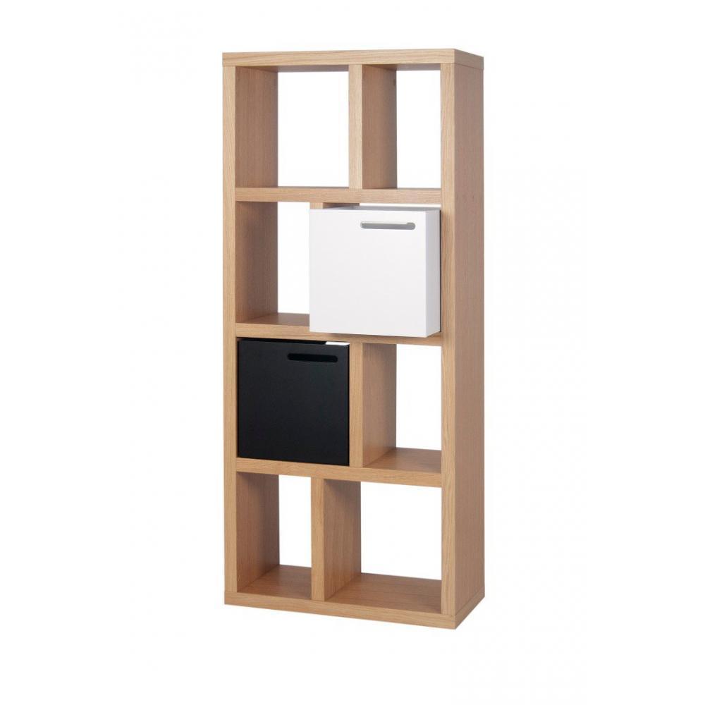 berlin petite bibliotheque chene 4 niveaux de rangements avec 2 boites