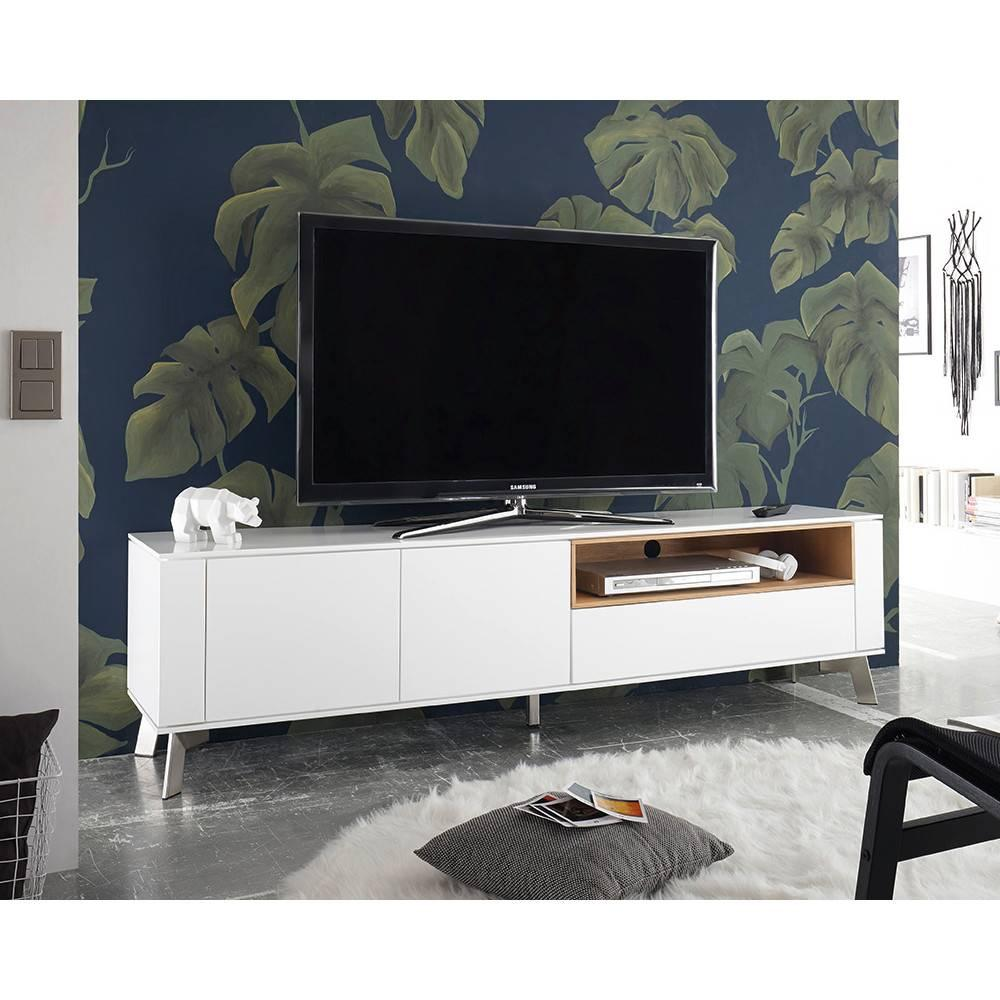 meuble tv design laque blanc bellinzona pieds acier brosse