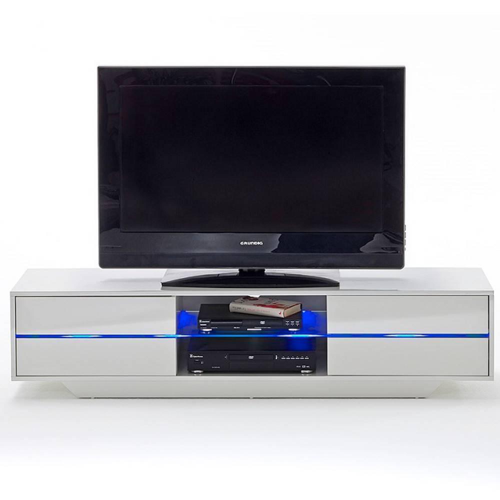 meuble tv design bosco 4 tiroirs finition laqee blanc brillant eclairage led integre