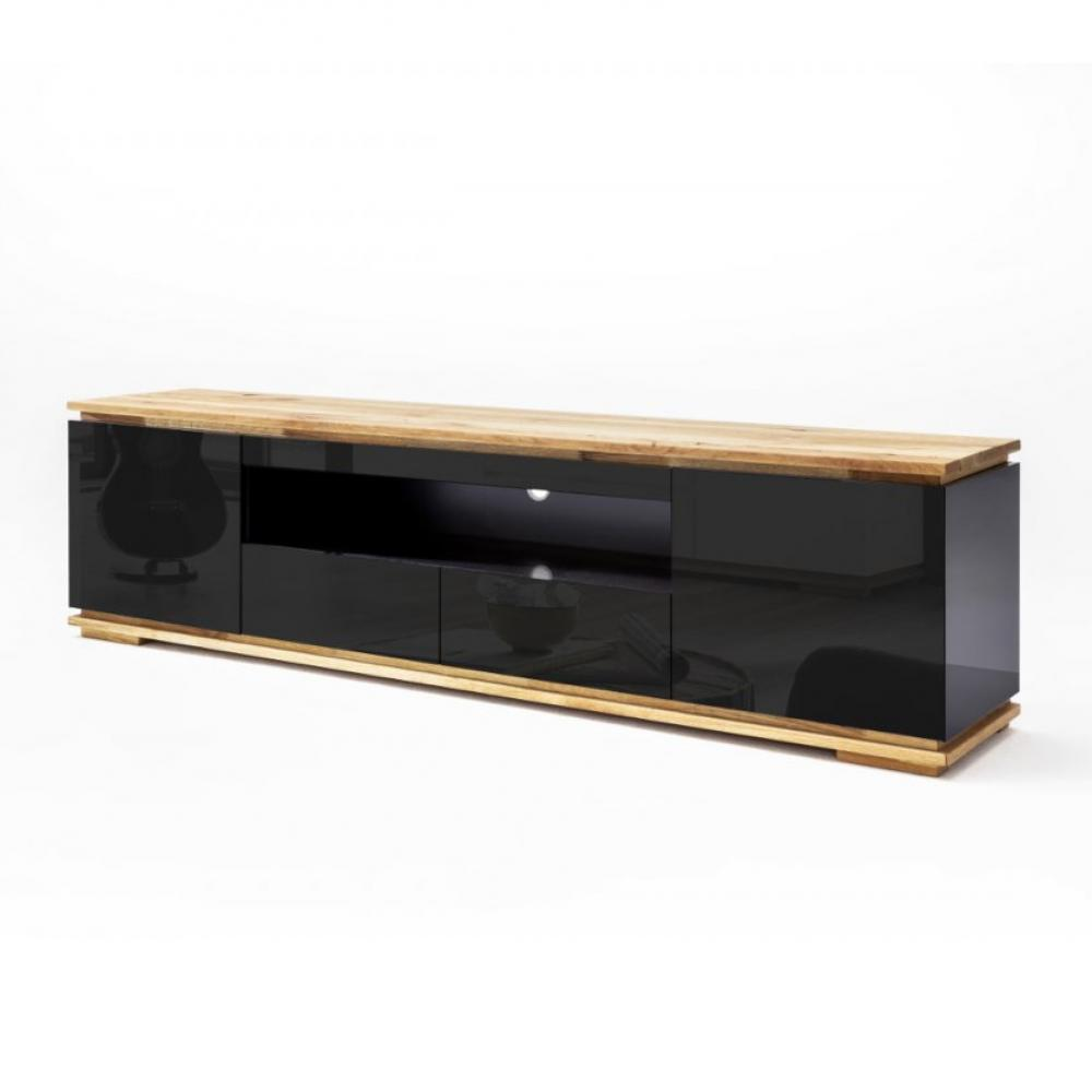 meuble tv charly noir brillant 2 tiroirs 2 portes 1 niche socle plateau chene massif
