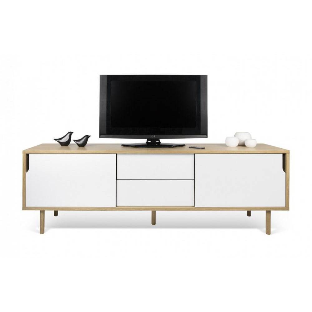meuble tv dann chene avec 2 portes coulissantes et 2 tiroirs blanc