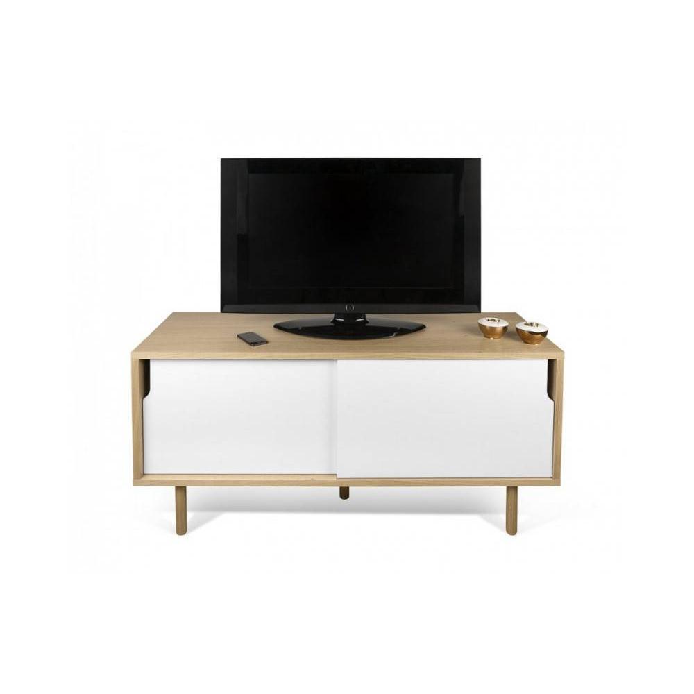meuble tv dann chene avec 2 portes coulissantes