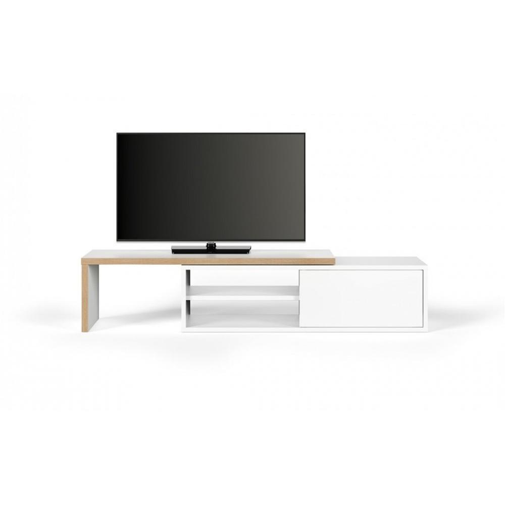 Meubles Tv Meubles Et Rangements Meuble Tv Modulable Move Blanc Mat Et Bois Avec 1 Porte Coulissante Inside75