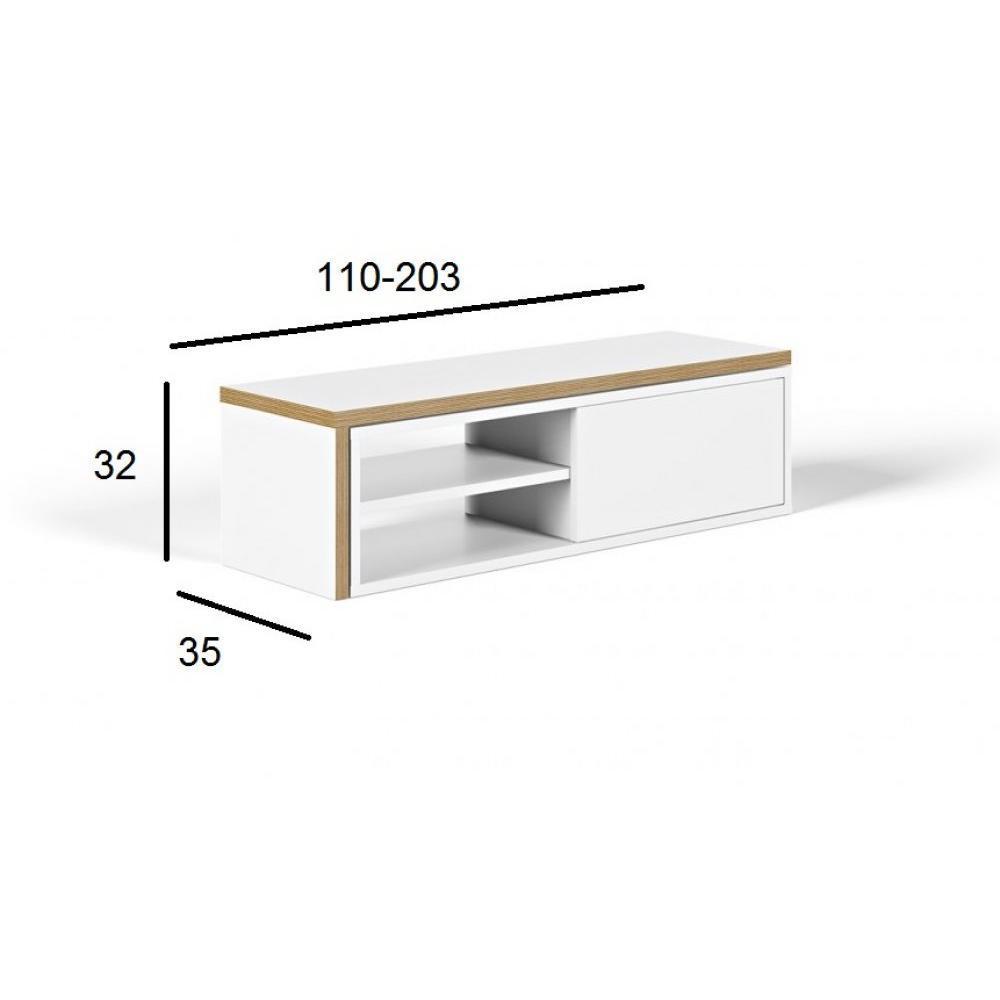 meuble tv modulable move blanc mat et bois avec 1 porte coulissante