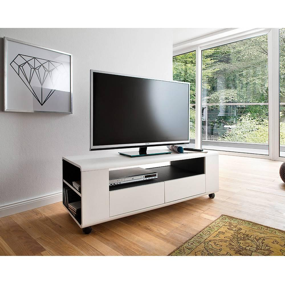 meuble tv chicago finition laquee blanc mat a roulettes