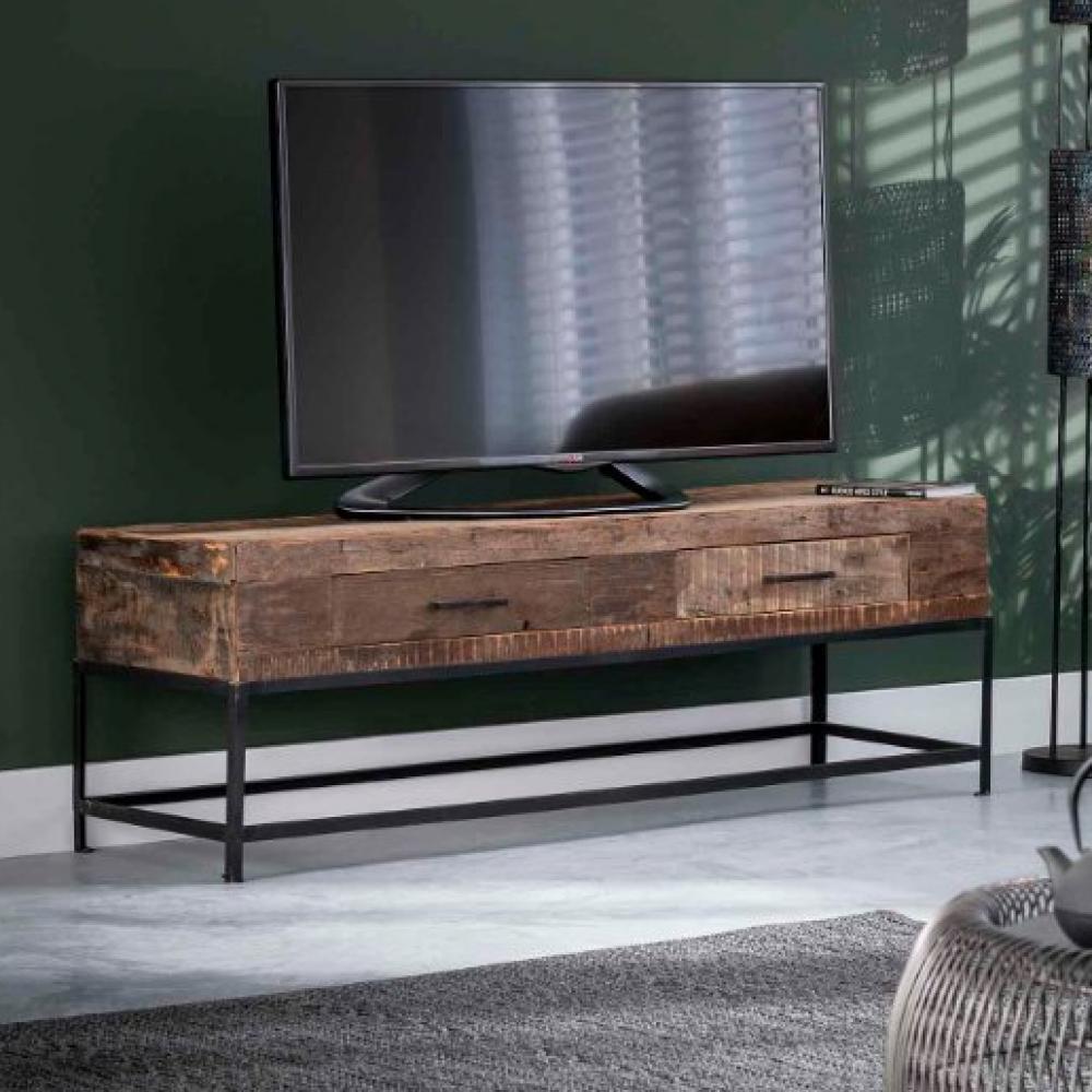 meuble tv lodge 2 tiroirs en bois recycle