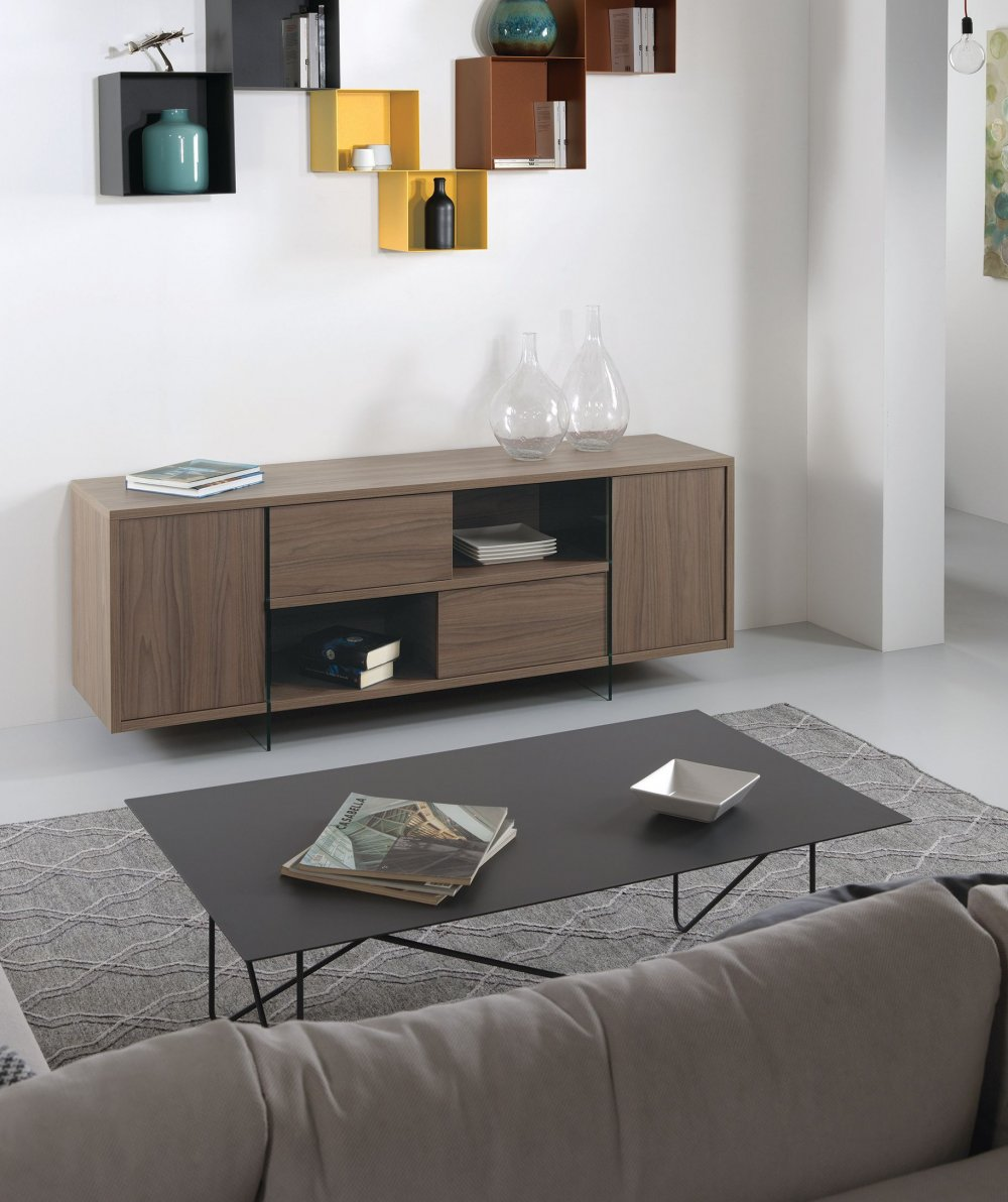 buffet meuble tv design mady 180cm noyer portes coulissantes et pietement en verre