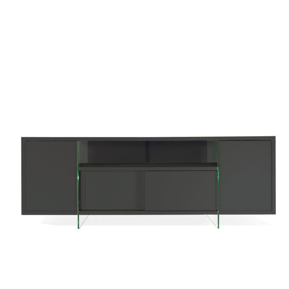 meuble tv design marco polo 180cm gris ardoise portes coulissantes et pietement en verre