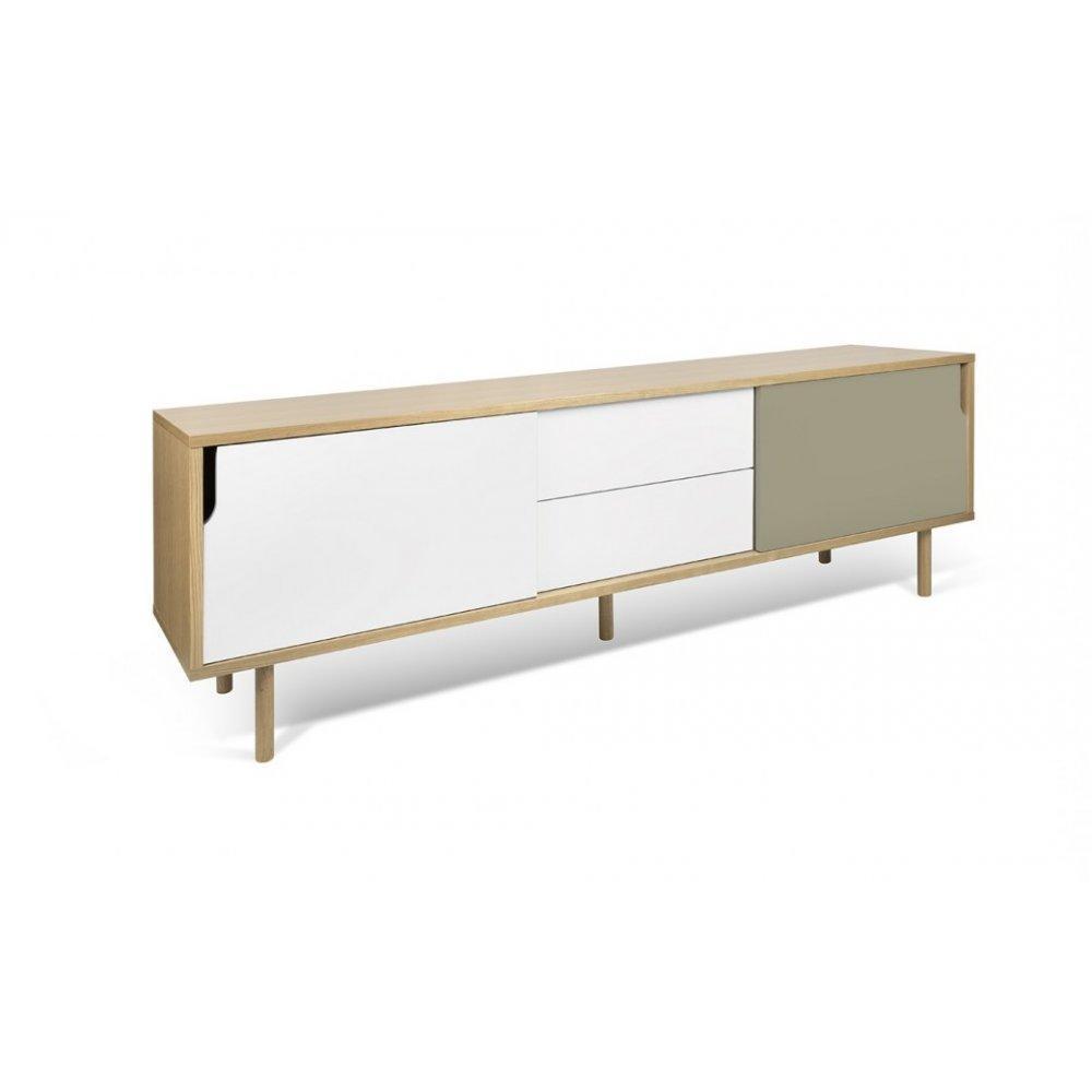 meuble tv dann chene avec 2 portes coulissantes et 2 tiroirs