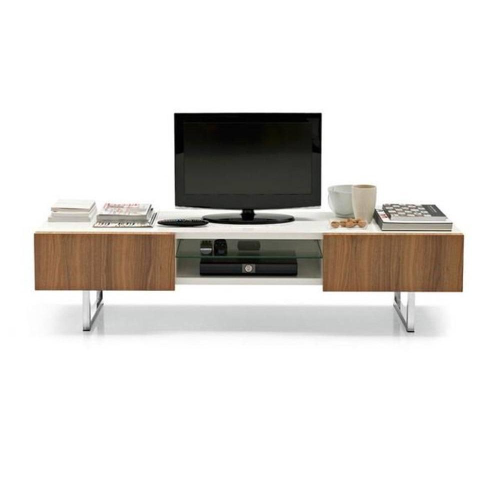 calligaris meuble tv design seattle noyer et blanc brillant 2 tiroirs