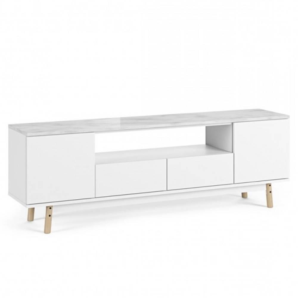 meuble tv lyon plateau marbre blanc pied chene