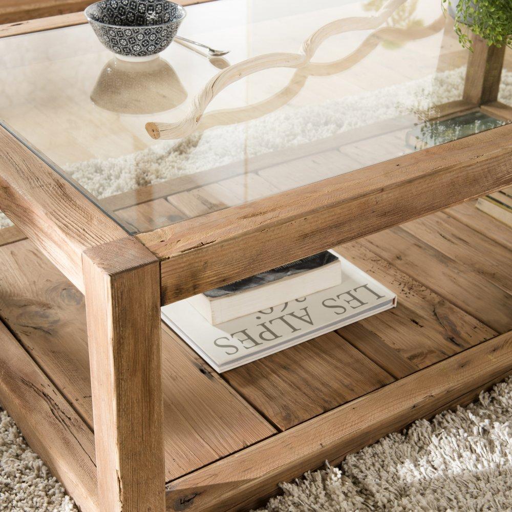 table basse sandy scandinave plateau en verre et bois pin recycle