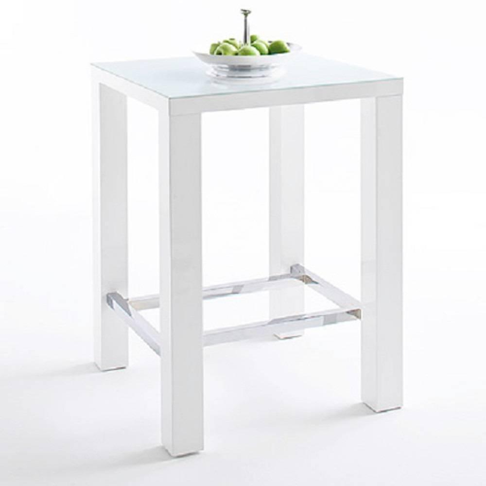 table de bar design janis 80 x 80 cm finition laque blanche brillante