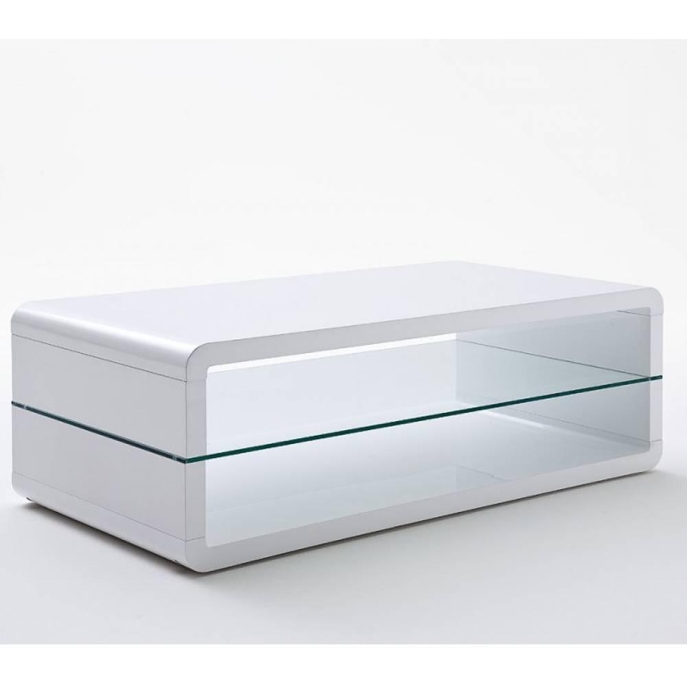 table basse design agen laquee blanc brillant plateau inferieur en verre