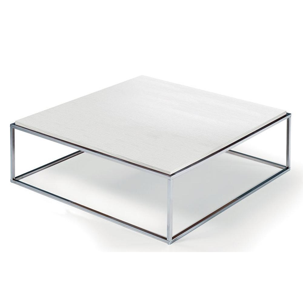 table basse carree mimi xl blanc ceruse structure acier inoxydable poli