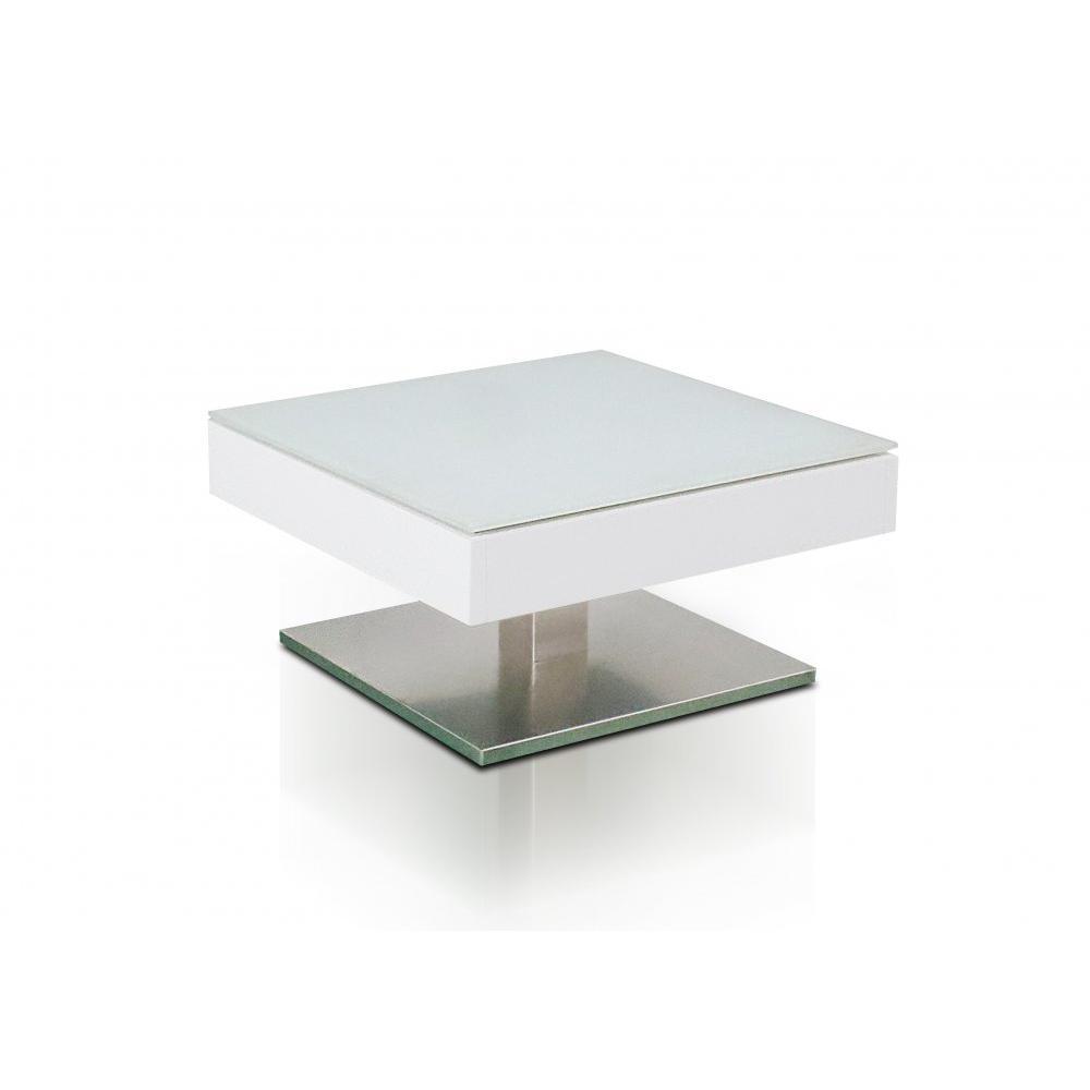 table basse marseille laquee blanc mat plateau en verre trempe blanc mat