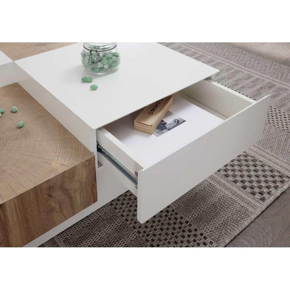 table basse pixbo laquee blanc mat et decor chene 2 tiroirs