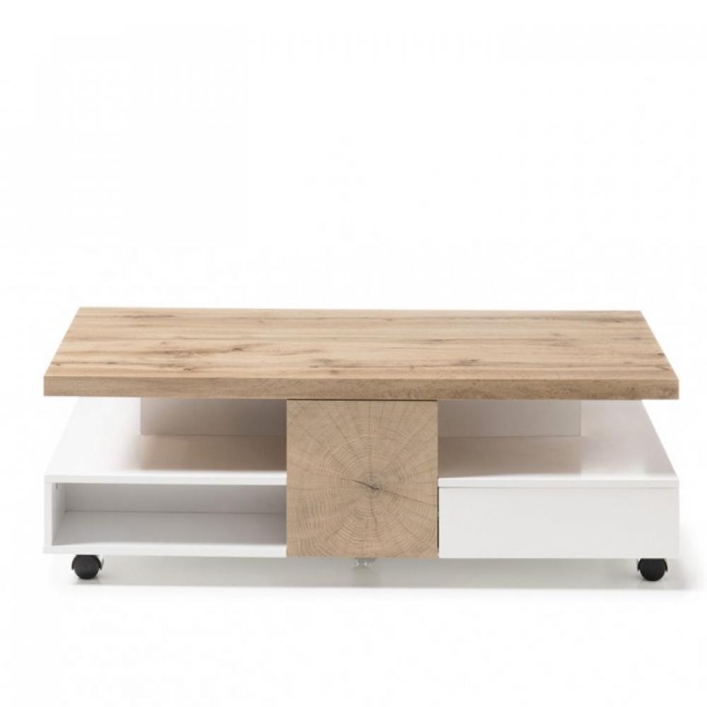table basse reaux 120 x 60 cm decor chene et blanc laque mat