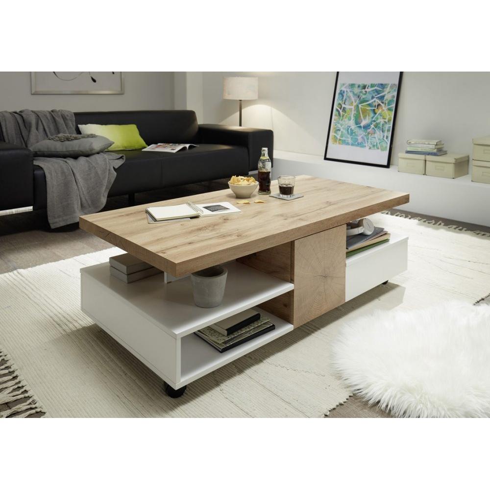 table basse reaux 120 x 60 cm decor chaªne et blanc laque mat