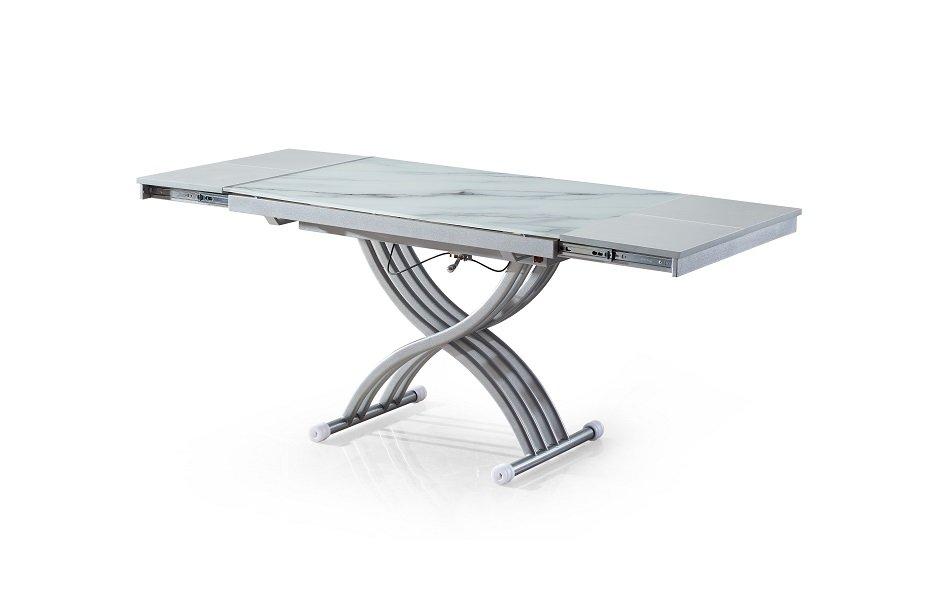 table basse newform relevable extensible plateau en verre trempe marbre blanc