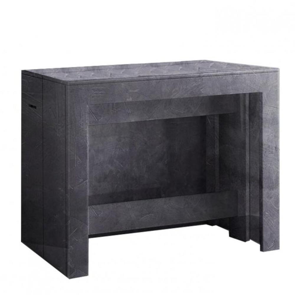 table console extensible 12 couverts longo 300 cm finition ardoise avec 5 allonges integrees