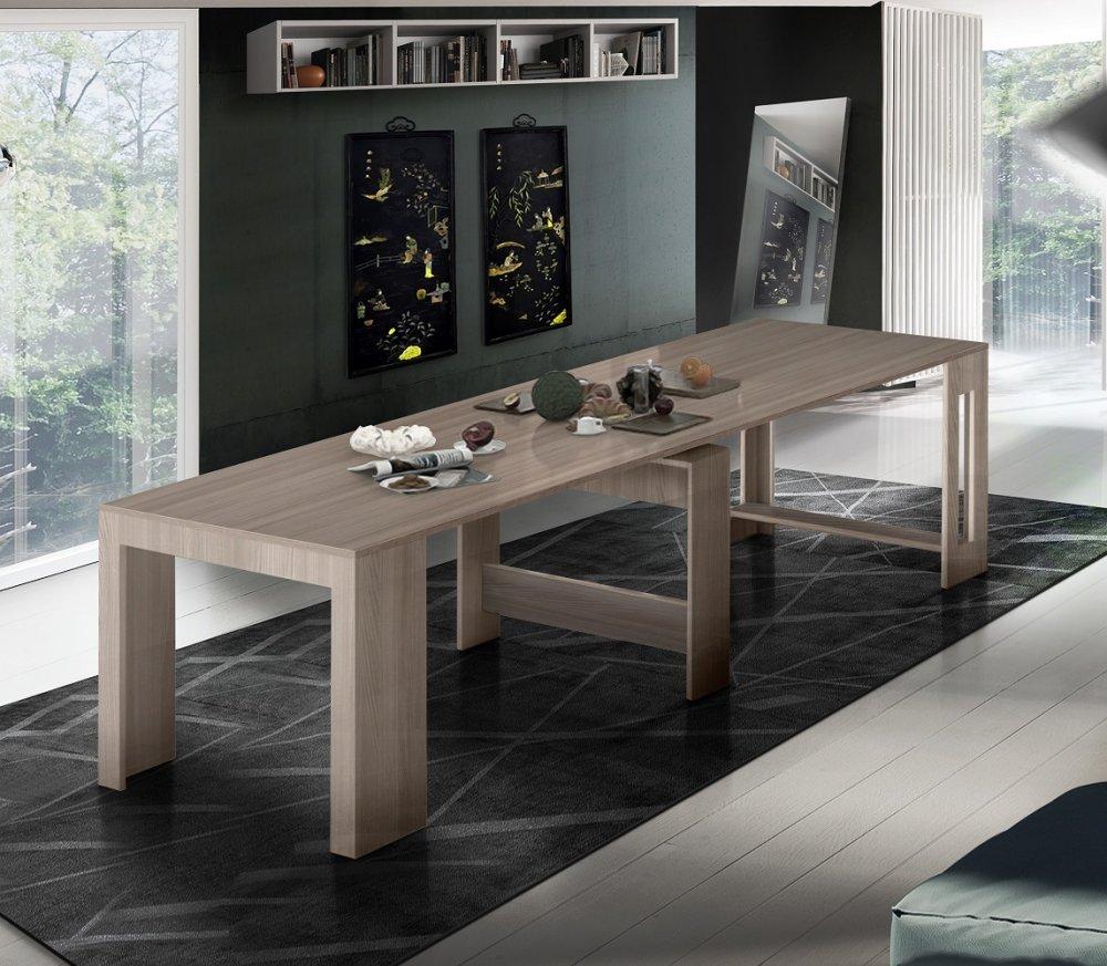 table console extensible 12 couverts longo 300 cm finition orme avec 5 allonges integrees