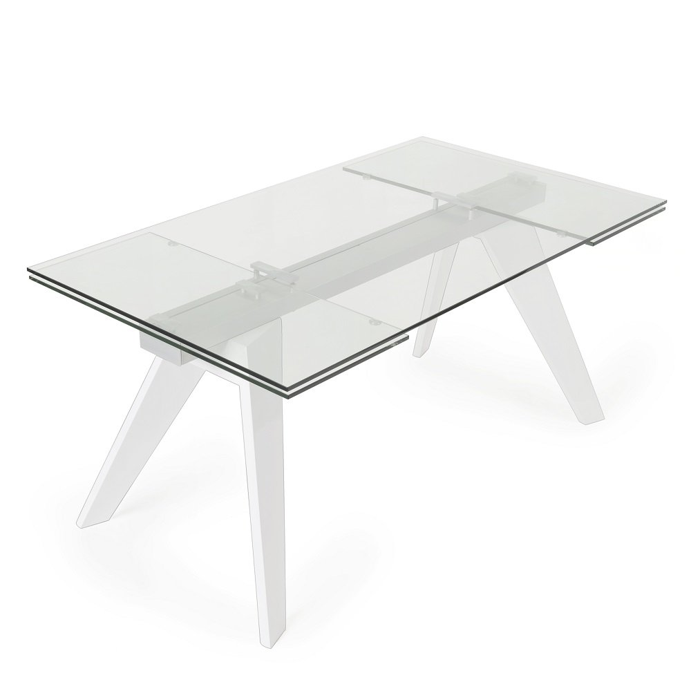 table repas extensible indianna plateau en verre trempe pietement bois naturel massif laque blanc brillant