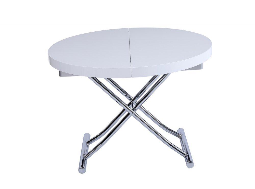 table basse ronde relevable et extensible saturna blanche diametre 105 cm