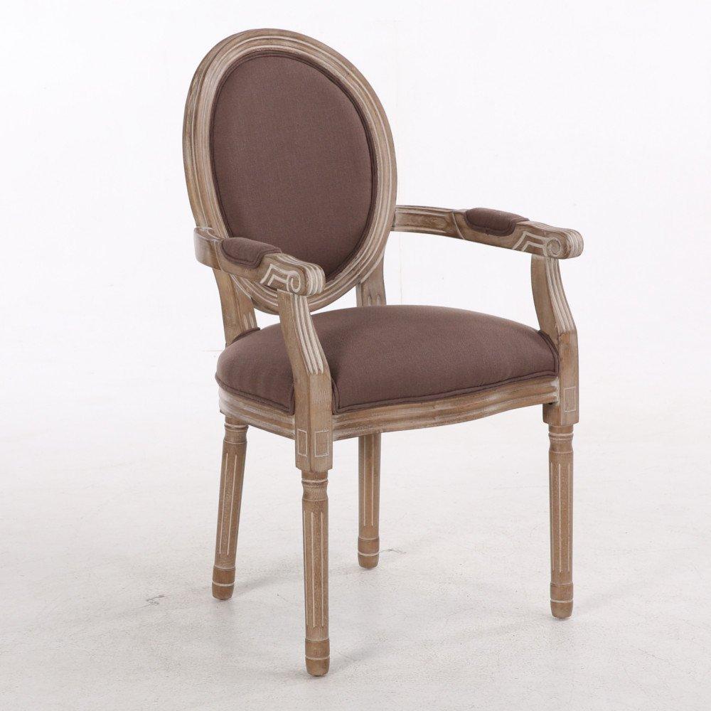 fauteuil medaillon versailles style louis xvi lin marron et chene gris