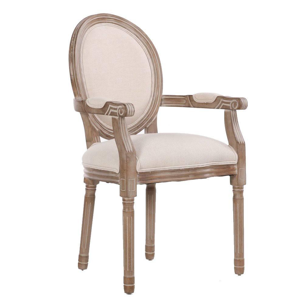 fauteuil medaillon versailles style louis xvi lin beige clair et chene gris