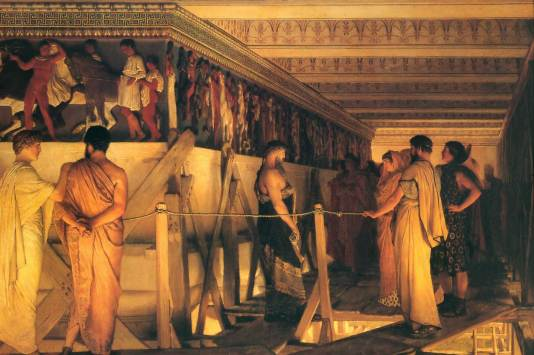 Phidias Showing the Frieze of the Parthenon to Pericles, Aspasia, Alcibiades and friends, by Sir Sir Lawrence Alma-Tadema