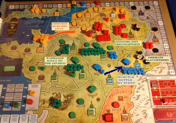 Ambiorix disengages from Caesar's Legions. The Aedui use a surprise over-mountain march to Ambush the large Germanic force threatening Vesontio. Vercingetorix responds by Entreating the Lingones away from the Aedui and Rallying his armies to tremendous numbers.
