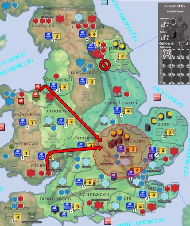 Dux wants to intercept the large raiding party in Catuvellauni (6 raiders). Most of his available troops are in the North but cannot intervene because the road is interrupted in Parisi (no Briton Control), so he has to scrounge troops from locations further South. He elects to bring 1 Cavalry from Silures, and 1 red Foederati from Deceangli, who, joining the 2 Militia currently sheltering behind the walls of Verulamium, will be enough to destroy the marauders if they can be brought to battle. Note that it would have been cheaper to bring all the intercepting forces from a single space, but that would have left that space dangerously unguarded…