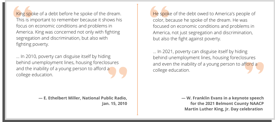 A side-by-side comparison of Evans' words and text from a National Public Radio article.