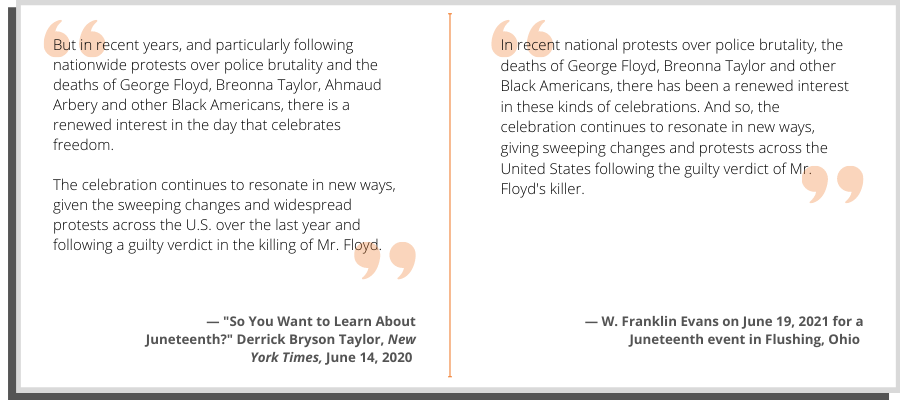 A side-by-side comparison of Evans' words and text from a New York Times article.