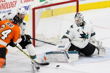 Goalie Martin Jones (#31) of the San Jose Sharks makes a save during the second period