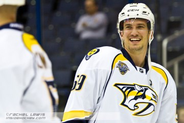 Roman Josi (NSH - 59) has a laugh during warmups.