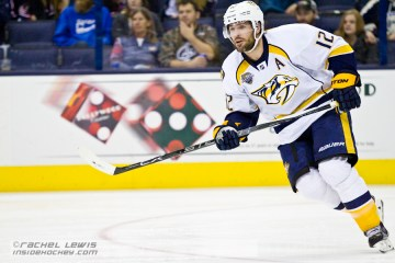 Mike Fisher (NSH - 12) skates out of the Nashville zone.