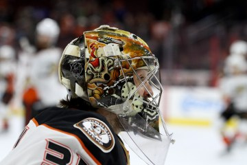 Goalie John Gibson (#36) of the Anaheim Ducks during the warm-ups