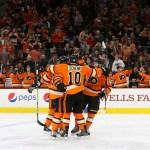 Center Brayden Schenn (#10) of the Philadelphia Flyers celebrates after the teammate Defenseman Radko Gudas (#3) scored a goal during the second period