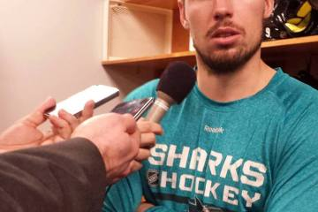 Logan Couture during postgame after Sharks-Predators Game 2 on May 1, 2016.