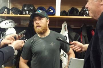 Joe Pavelski addesses the media in the locker room.