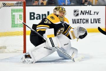 Boston Bruins goalie Anton Khudobin (35) during a NHL game against the Montreal Canadiens.