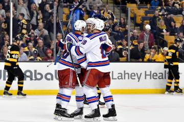 Nov 5th, 2016; New York Rangers celebrate their third period goal during an NHL game against the Boston Bruins. Credit: Brian Fluharty-Inside Hockey.