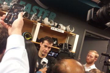 Patrick Marleau during Sharks vs. Devils postgame at SAP Center on Nov. 21, 2016.
