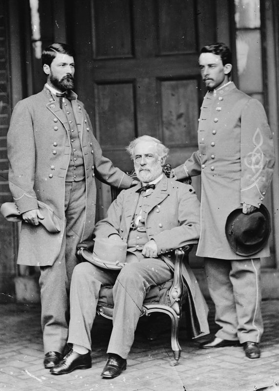 (The Art Archive/REX/Shutterstock)Major-General George Washington Custis LEE, with his father, Robert E. LEE (seated), 1807-70 and Lt. Col. Walter Herron TAYLOR, Lee's chief of staff, shortly after the surrender at Appomattox, photographed at Lee's Franklin St. home, Richmond, Va., April 1965. Robert E. Lee, Confederate general and commander of the Army of Northern Virginia during the American Civil War. (Mathew Brady) Art - various Artist: BRADY, Mathew (1822-1896, American)