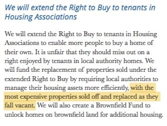 The Conservatives pledged to extend the right to buy